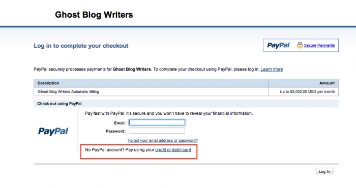 PayPal Automatic Billing CC