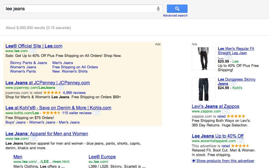 Lee Jeans SERP