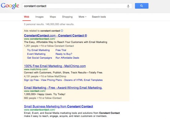 Constant Contact Google Result 2013
