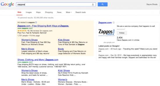 Zappos Google Result 2013