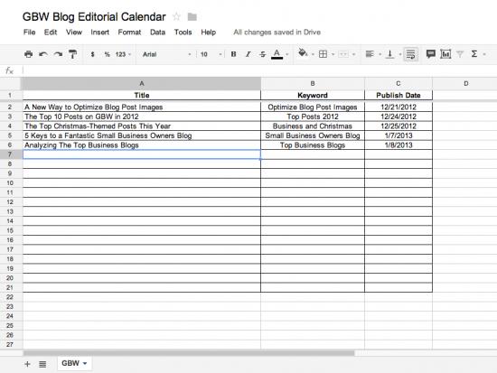 Business Blog Editorial Calendar