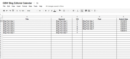 Business Blog Editorial Calendar for Clients