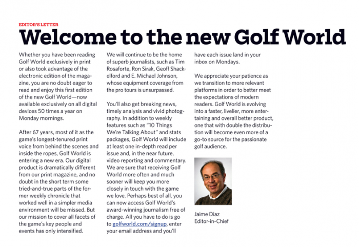 Golf World Editor Letter