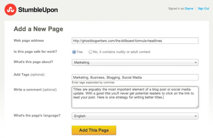 Add Page To StumbleUpon