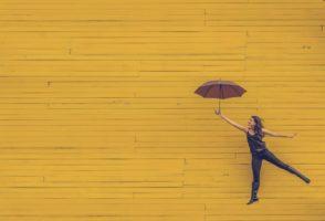Yellow Wall Brown Umbrella