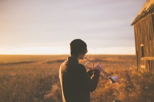 Trumpet Player Outdoors